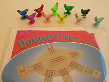 NEW 100 ASSORTED CHICKENS AND 10 DOMINO TURN TABLES FOR THE CHICKEN FOOT GAME