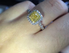2.90CT WOMEN'S CUSHION CUT CANARY YELLOW DIAMOND HALO ENGAGEMENT RING 14K OVER