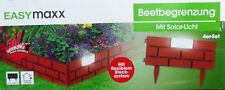 Easymaxx Solar-Beetbegrenzung Ziegelmauer 4er-Set in Terracotta