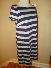LAUNDRY BY SHELLI SEGAL METALLIC SILVER DARK BLUE STRIPES DRESS WOMENS SIZE 8