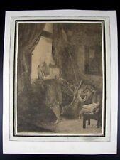 Gravure Pointe Sèche Collé Support Papier PORTRAIT DE JAN DIX Signée Rembrandt