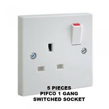 5 PC PIFCO Wall Socket Single 1 Gang Switched Mains Electrical Plug Fitting Home