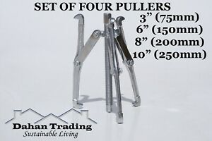 """SET OF 4 x Jaw bearing gear puller 3"""" (75mm) 6"""" (150mm) 8"""" (200mm) 10"""" (250mm)"""