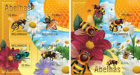 Bees Bienen Insects Insekten Fauna Mozambique MNH stamp set