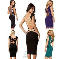 Sexy Backless Strap Bodycon Pencil Dress Formal Evening Prom Cocktail Party Midi