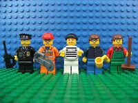 5 x Lego Brand New Mini Figure Worker Farmer Robber Policeman Builder City Set