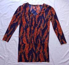 EX CON Fate Size 8 Dress Tunic Long Sleeve Mini Blouson Blue Print Orange