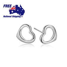 Silver 925 Sterling Open Heart Love Heart Earrings Studs