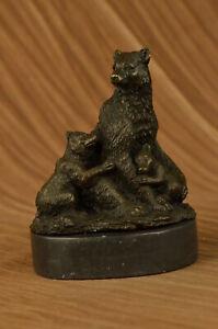 Kodiak Grizzly Russian Bear cub Figure Wildlife Art Lodge Bronze Statue Figurine