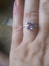925 Silver -Engagement, Amethyst & .10ctw Genuine Diamonds Ring 3g - Sz 9