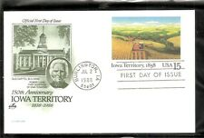 US SC # UX123 Iowa Territory, 1838. Postal Card FDC. Artcraft Green Cachet