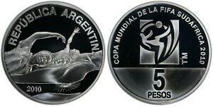 ARGENTINA SILVER PROOF 5 PESO COIN 2010 FIFA FOOTBALL WORLD CUP PCGS PR67 TOP 🥇