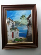 Framed Oil Painting of Tropical Shore Seascape on Canvas