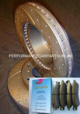 DRILLED & SLOTTED HSV VZ CLUBSPORT R8 GTO 350mm Front Brake Rotors + PADS