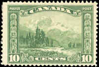 Mint H Canada 10c 1928 F+ Scott #155 King George V Scroll Stamp