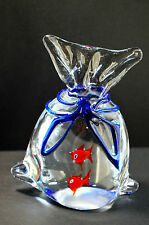 Murano Art Glass Gold Fish In A Bag Paperweight Aquarium