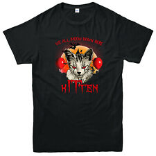 Kitten Pennywise Spoof T-Shirt, We All Meow Down Here Scary Dread Retro Gift Top