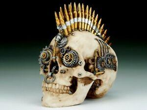 Skull with Bullets & Gears Steampunk Figurine Statue Skeleton Halloween