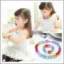Colorful Round Beads Necklace and Bracelet for Girl Children Wedding Jewelry Set