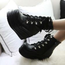 Women Punk Ankle Boots Platform Lace up Creepers High Wedge Heel Gothic Shoes SZ