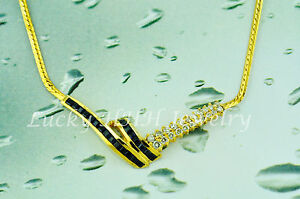 Pre owned 14k Solid Yellow Gold Natural Sapphire Diamond Necklace  2.21ct