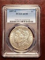 1897 S Morgan Silver Dollar PCGS AU 55