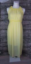 My Hailys Sommer Maxikleid langes Kleid Gelb Rüschen Chiffon Größe M bis L  Neu