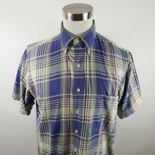 GANT Mens Heritage Twill SS Button Down Navy Blue Plaid Dress Shirt Large