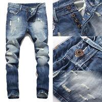 Men's Ripped Skinny Biker Jeans Destroyed Frayed Slim Fit Denim Pants Summer NEW