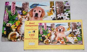 SunsOut Good Companions Jigsaw Puzzle 100 Pets Puppy Kitten Bird Lizard Rabbit