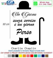 WALL STICKERS ADESIVI MURALI 30x60 ADESIVO MURO FRASI Charlie Chaplin 2a Generaz