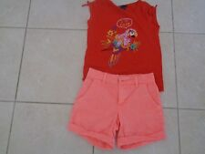 """GAP  Orange SHORTS with Red  Embellished Top   """"I love colour """"'    6-7   EEUC"""