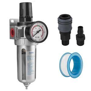 """NANPU 3/8"""" NPT Compressed Air Filter / Pressure Regulator Combo w/150 psi Gauge"""