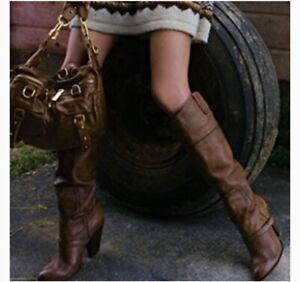 Sam Edelman Naharra Brown Knee High Heel Boots Tall Boots 8M Women