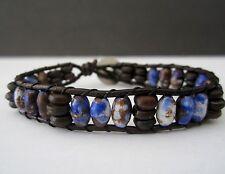 Men's Gift Blue & Brown Bone Shell Tribal Surf Leather Wrap Bracelet w/ Buffalo