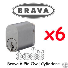 Oval cylinder - 6 PIN - Brava BULK LOT SET x6 Locks KEYED ALIKE !!!!