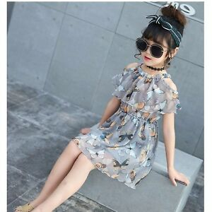 Girls Chiffon Butterfly Print Dress Elastic Waist Age 3 - 10