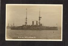 REAL-PHOTO POSTCARD:  H.M.S. IMPLACABLE - BRITISH ROYAL NAVY Pre-WW-1 BATTLESHIP