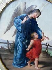 More details for pair antique paintings of angels and saints c1870