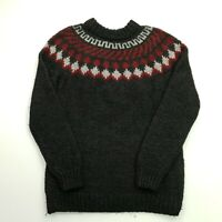 Retro Mens Vintage Nordic Norwegian HEAVY Pullover LARGE  Wool Sweater Jumper