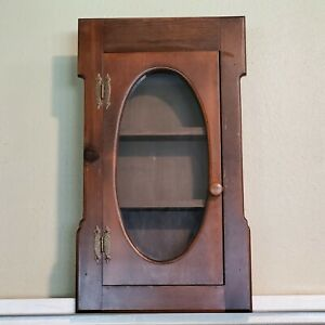 "Antique Wood Wall Mount Curio Medicine Storage Cabinet 28x16x4.5"""