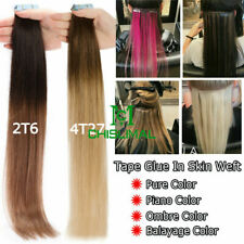 Thick 10 - 32inch Tape In Remy Human Hair Extensions Skin Weft FULL HEAD