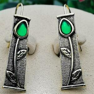 Boho 925 Silver Jewelry Emerald Cut Tree Leaves Ear Hook Dangle Earrings Party