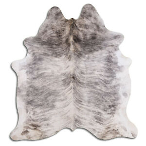 Real Cowhide Rug Light Gray Brindle Size 6 by 7 ft, Top Quality, Large Size