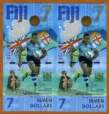 SET FIJI, 2 x $7, 2017, Consecutive Pair, P-New, UNC > Commemorative