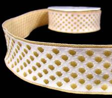 """10 Yds Gold Ivory Polka Dot Woven Jacquard Wired Ribbon 1 7/16""""W"""