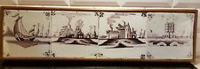 Antique Tableau with 4 Dutch Delft Manganese 'Open Air' tiles Spider Corner