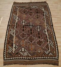 SAME OLD PERSIAN KILIM HAND WOVEN RECTANGLE WOOL 30+ BROWN AREA RUG 5X9ft