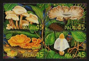 PALAU, SCOTT # 208-211 (211A), MINT HINGED BLOCK OF 4 EXOTIC MUSHROOMS