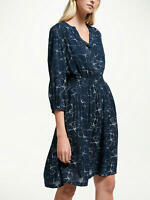 New John Lewis Weekend Smock Detail Blouson Dress, Blue, UK 10, RRP £65